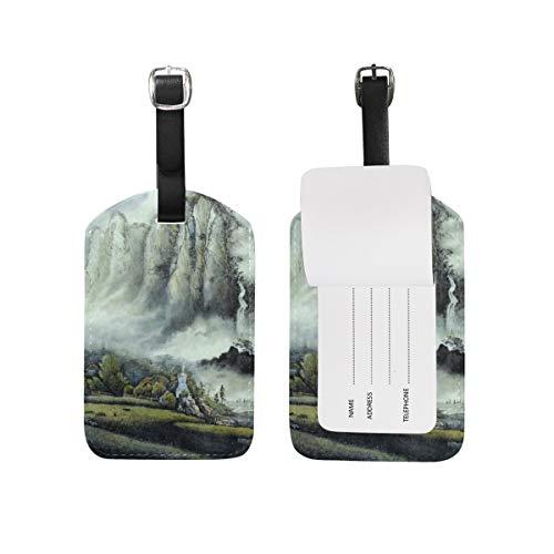 Niebla cascada equipaje etiqueta de viaje ID etiqueta cuero para equipaje maleta 1 pieza