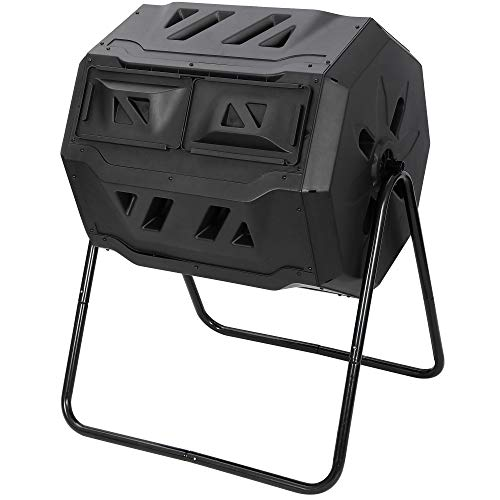 Saturnpower Large Composting Tumbler Dual Chamber Outdoor Garden Rotating Compost Bin Tumbling Composter with Sliding Door (43 Gallon, Black)