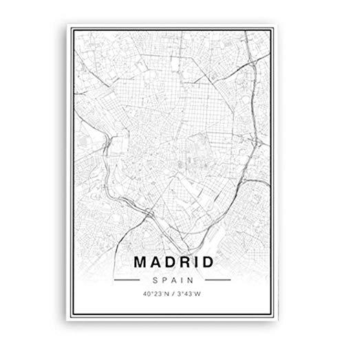 Cuadro Mapa Madrid Ciudad En Lienzo Canvas Impreso Decoraci/ón Teal, 40 x 30 Cm con Bastidor - Listo para Colgar