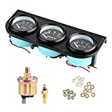 3 in 1 Car Meter Auto Gauge 1/8in NPT 52mm/2in 8-16V Voltmeter 40-120℃ Water Temp Meter 0-7kg Oil Pressure Gauge Kit for 12V Car
