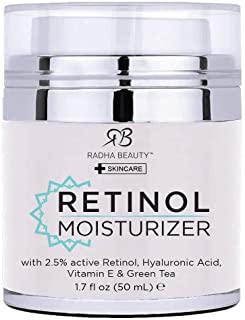 Radha Beauty Retinol Moisturizer Miracle Cream for Face - with Retinol, Hyaluronic Acid, Vitamin E and Green Tea. Best Nig...