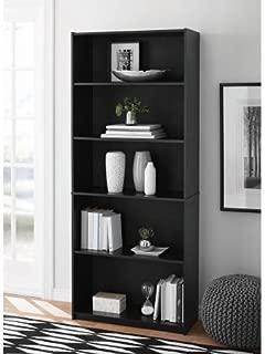 Mainstays 5-Shelf Wood Bookcase - BLACK
