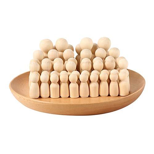 Dandelionsky 50 Stück Puppen-Set aus Holzpuppen, nicht lackiert, 35 mm, 43 mm, 55 mm, 65 mm, für Familie, kreative Spielzeuge zum Bemalen von männlichen Puppen, mit Box
