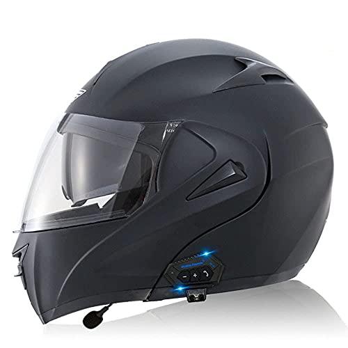 KLWJ Flip-up Helmets Motorcycle Bluetooth Integral Helmet Scooter Helmet with Double Visor Sun Visor ECE Approved for Women Men Adults Built-in Bluetooth Intercom S~XL
