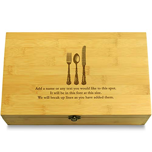 Cookbook People Silverware Multikeep Box - Moving Wall Sustainable Bamboo Adjustable Organizer
