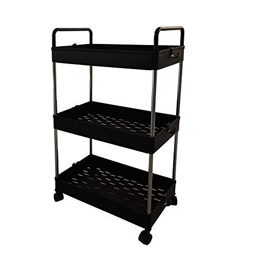SONGMICS Carro de almacenamiento, Carro de cocina y baño de 3 niveles, Carrito deslizante con ruedas y asas, 40 x 22 x 67 cm, Negro KSC019B01