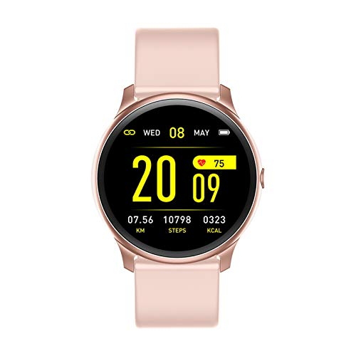 GYY Pantalla Táctil Completa Mujer Smart Watch Deporte Impermeable Smartwatch para iOS Y Android (Color : Pink)