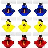 Biluer Bevitore di Pollo, 9PCS Tazze Pollame Waterer Abbeveratoio Automatico per Pulcini Pollame Alimentatore Adatto a Pollo Anatra Uccello Piccione Quaglia(Rosso,Blu,Giallo)