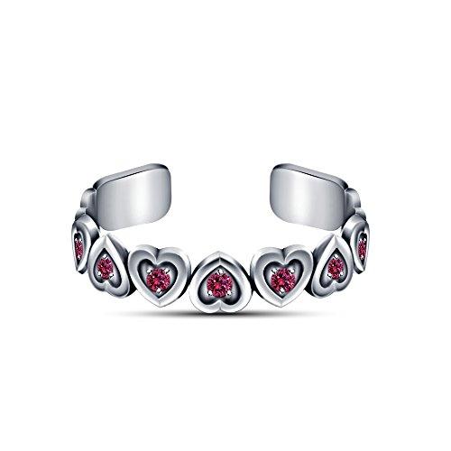 Vorra Fashion 925. Sterling-Silber 925 Rosa Saphir platinbeschichtet Fashion Zehenring Herz