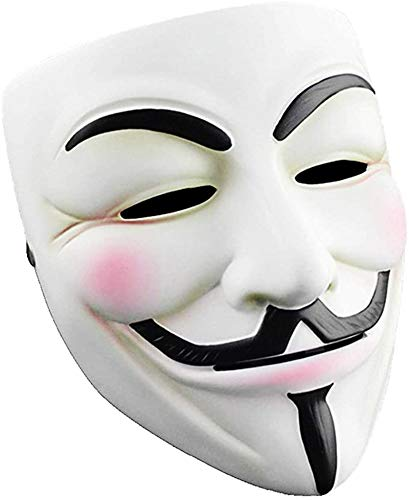 DIANCHU Hacker Mask for Kids - V for Vendetta Mask Halloween Masks Anonymous Guy Mask for Party Cosplay White