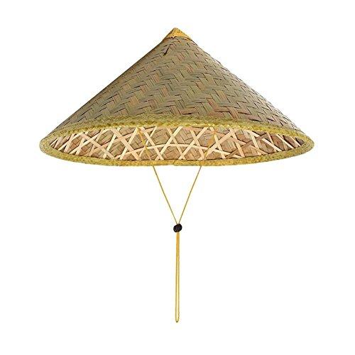 LKXHarleya Adulto Pescar Sombrero Oriental Bambú Tejido Sombrero Cono Pico Turismo Agricultura Sombrero