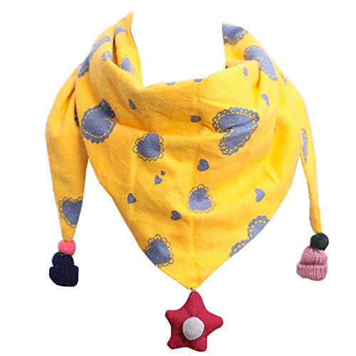 YONKINY Sciarpa Bambini Carino Moda Morbida Caldi Sciarpa in Cotone Scaldacollo Triangolo Sciarpa per bambine (Giallo#2)