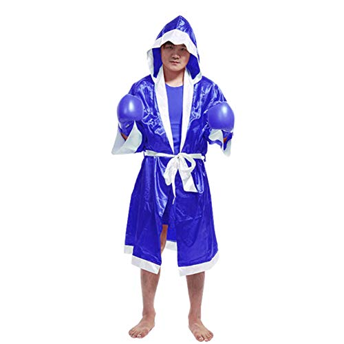 XQxiqi689sy traje de satén y corto combinado de películas de boxeo MMA boxeo partido Muay Thai hombres con capucha manga larga bata uniforme traje - zafiro azul XL
