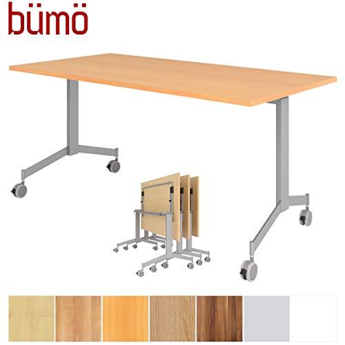 bümö Klapptisch fahrbar 160 x 80 cm - mobiler Konferenztisch klappbar & rollbar   Meetingtisch massiv mit Rollen (Buche)