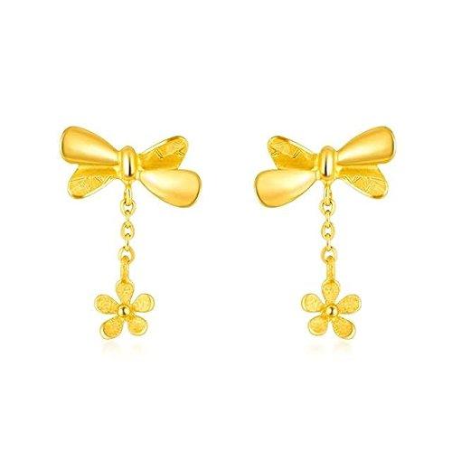 Beydodo Pendientes Mujer Pendientes Oro Amarillo Pendientes de Mujer Pendientes Lazo Mariposa Flor Pendientes Oro-3.17g