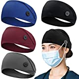 Headbands with Button for Mask, Wide Nurses Headbands Non Slip Elastic Ear Protection for Women Men Doctors Sweatband Head Wrap (BUTTON- 4 PACK COLOR05)