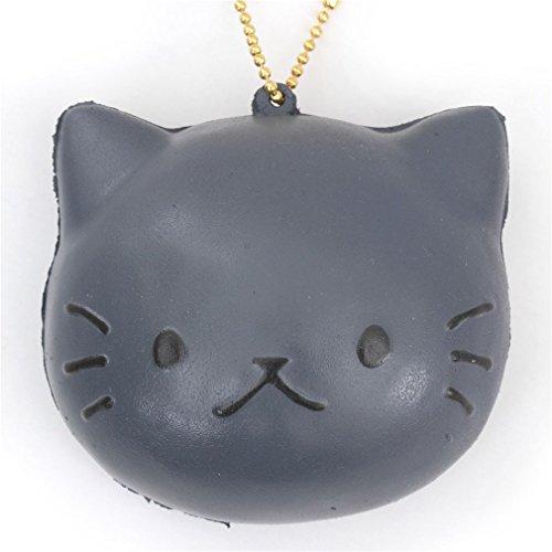 Kawaii Lindo colgante blando Squishy bollo pan cara de gato gris Cafe Sakura