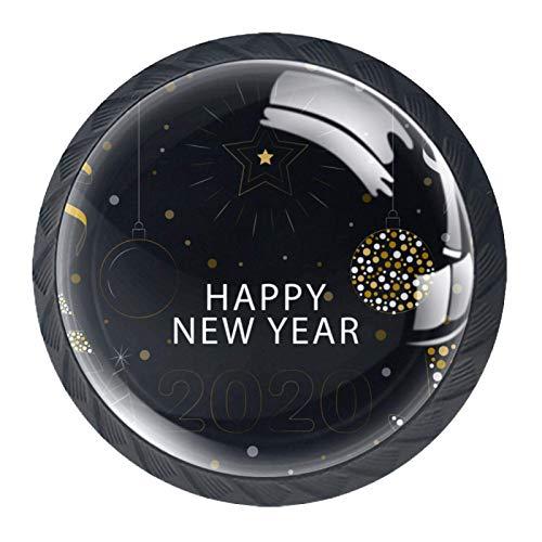 YATELI Feliz año Nuevo 2020 Perillas de extracción de para gabinetes, armarios, Puertas y cajones de Muebles: se Venden como un Paquete de 4 perillas