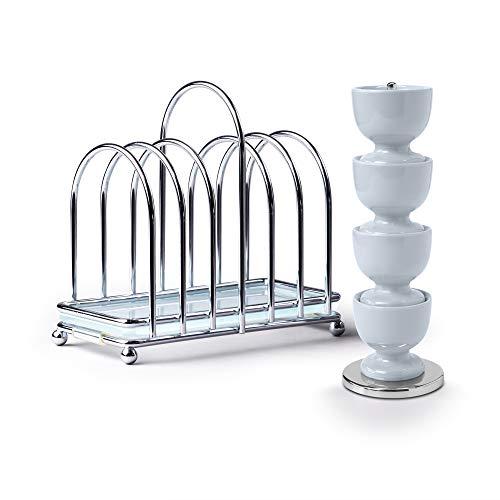 Zeal BASET9B Frühstücksset Set aus 4 Eierbechern aus Melamin auf Ständer mit Chrom und Glas, 6-teiliges Toastständer