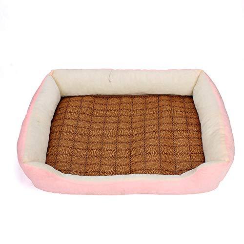 Cama para Perros de Felpa Suave y cálida Cama para Perros Cama para Dormir mullida sofá para Mascotas Perros pequeños y medianos de Varios tamaños -Rosa_XXL-80 * 60 * 15 cm