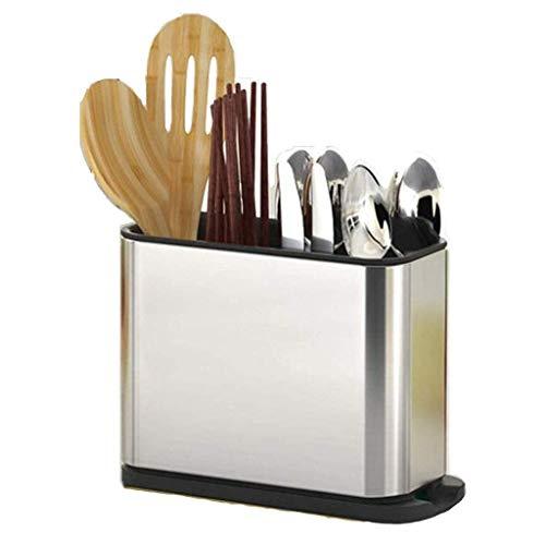 Keukenwerktuig Holder Messenblok met aanrechtblad, gereedschap Caddy for messen, vorken, lepels, 430 roestvrij staal, zilver (Kleur: A) ZHW345 (Color : B)