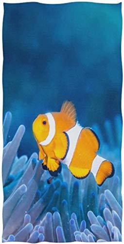 Toallas de Mano para Invitados absorbentes Suaves con Estampado de Coral y pez anémona subacuática en 3D Multiusos para baño, Hotel, Gimnasio y Cocina