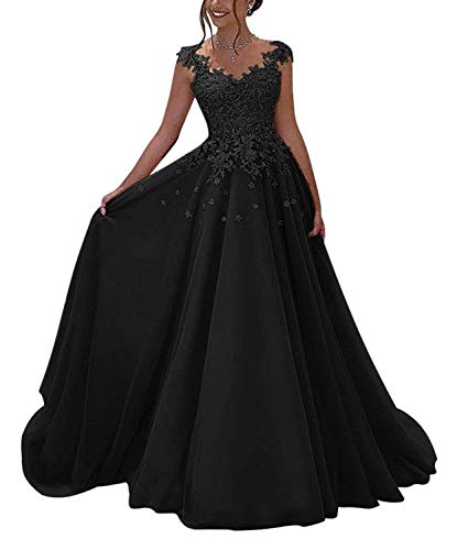 NUOJIA Damen Prinzessin Ballkleider Lange mit Appliques Party Kleid Schwarz 42
