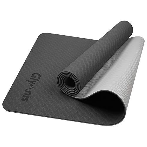 Glymnis Yogamatte Gymnastikmatte aus TPE rutschfest Übungsmatte Fitnessmatte für Yoga Pilates Fitness mit Tragegurt und Reinigungstuch 183 cm x 61 cm x 0,6 cm (Schwarz-Grau)