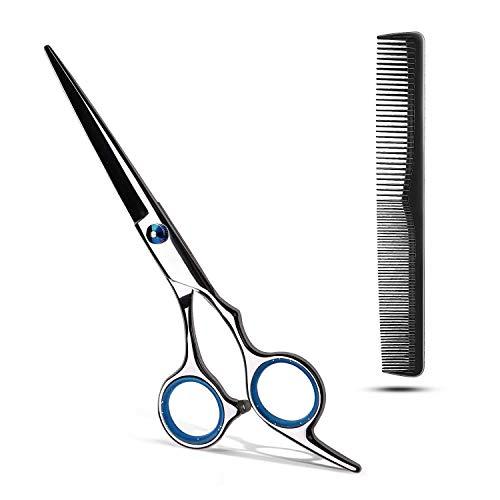 Haarschere Profi, Friseurschere Scharfe, Edelstahl Haarschneideschere mit Kamm | Präziser Schnitt | Perfekter Haarschnitt für Kinder, Damen und Herren