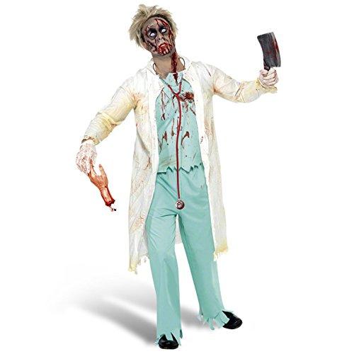 Zombie Doktor Kostüm Herren 3 teilig Horror OP Arzt Anzug Set für Halloween Karneval Mottoparty grün weiß - L