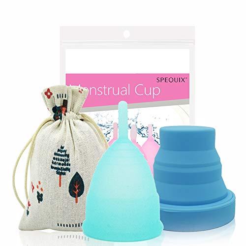 SPEQUIX 1 x Menstruationstasse und 1 x Desinfektionsbecher, faltbar, aus Silikon; Set für Monatshygiene
