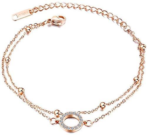 Pulsera de tobillo para mujer, acero inoxidable y oro rosa, chapado en oro rosa, de alta calidad, con circonitas cúbicas de cristal de circonita cúbica, cadena para el pie, ajustable, regalo para la