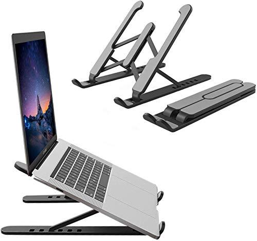 Soporte para portátil ajustable en 6 niveles, portátil, altura ajustable, compatible con portátiles de 10 a 15,6 pulgadas, color negro