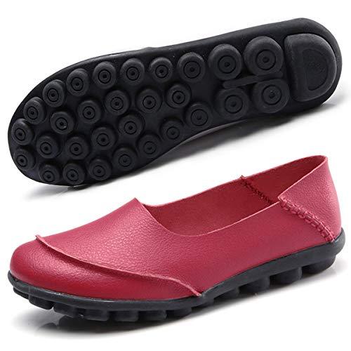 Hishoes Damen Mokassin Bootsschuhe Leder Loafers Fahren Flache Schuhe Halbschuhe Slippers Erbsenschuhe , Winerot1, 41 EU