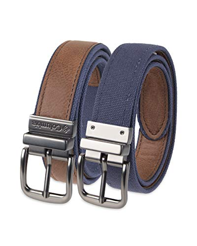 """Columbia Boys' Big 1"""" Wide Reversible Belt with Double Stitch, Tan/Navy, Medium (26-28)"""