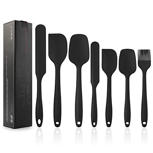 EKKONG Silikon Spatel, Silikon Küchenutensilien Hochwertige Hitzebeständige, Antihaft-Küchenbackwerkzeuge Küchenhelfer Set, Küchenhelfer Utensilien Sets Silikon Spatel-7Pcs (Schwarz)