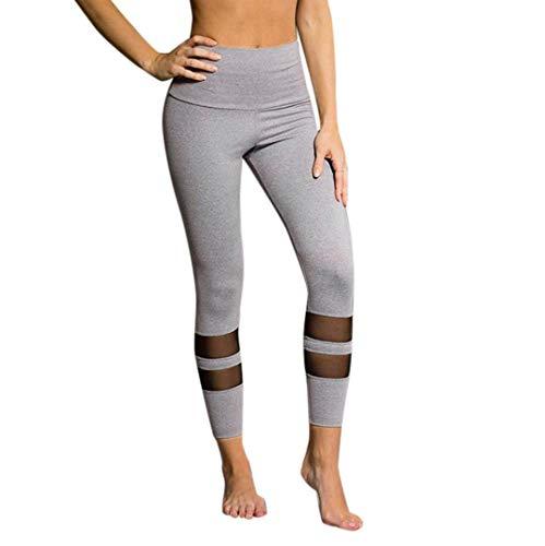 Pantalons de sport Pantalon de yoga Femmes, Toamen Jambières de yoga Gymnase de sport Taille haute Vêtements d'entraînement Yoga Engrener Pantalon Leggings (L, Gris)