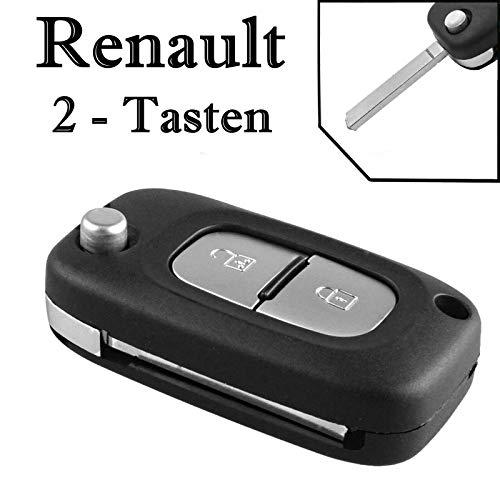 1x Ersatz Klappschlüssel Auto Schlüssel Gehäuse für 2 Tasten Funk Fernbedienung mit Rohling - RENAULT_KS12 Neu