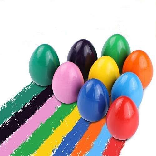 DY_Jin Crayones de Huevo de 9 Colores para niños pequeños, Crayones de Agarre de Palma sólidos Lavables para Agarre de Manos de bebés, Crayones de Pintura Seguros y no tóxicos