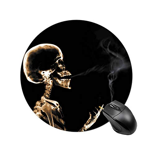 Gaming Mouse Pad Skeleton Smoking Vasion X-Ray Art Desktop and Laptop 1 Pack Round Mouse mat