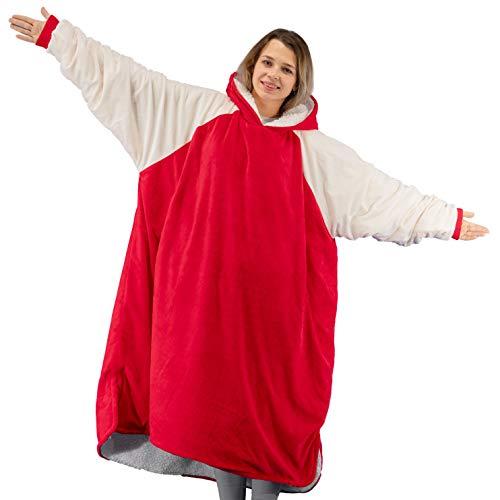 Winthome - Coperta oversize con cappuccio e fodera in Sherpa, morbida e calda, per uomini, donne, adulti e adolescenti Rosso M
