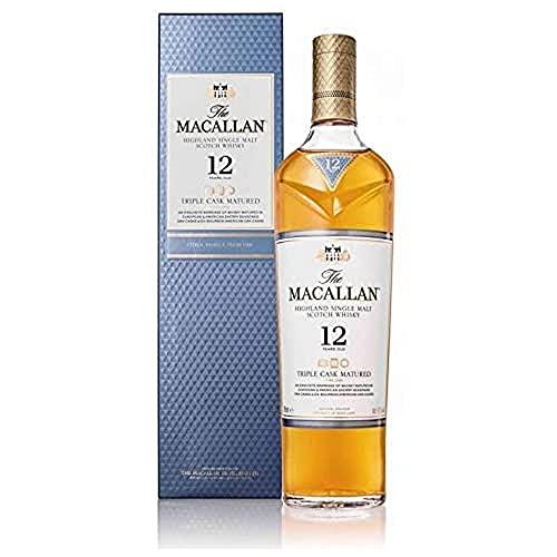 The Macallan 12 Jahre Triple Cask Single Malt Scotch Whisky, mit Geschenkverpackung, Zitrus-Noten und frische Eiche, 40% Vol, 1 x 0,7l