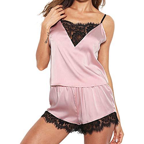 Proumy Camisola con Calzoncillos Pijama Mujer Verano Vestido de Dormir Seda de Encaje Sexy Bata Dos Piezas Ropa Interior Cuello V Transparente Chaleco de Talla Grande Conjunto de Lingerie Floral Rosa
