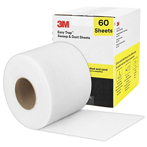"""3M Easy Trap Duster Sweep and Dust Sheets for Cleaning Dirt, Sand, and Hair on Hardwood Floors, Vinyl, and Tile in Kitchens, Bathrooms, and Entryways, 5"""" x 6"""" Sheets, 60 Sheets/Roll"""