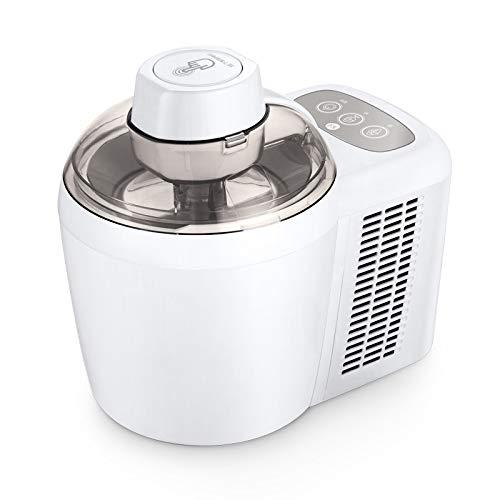 Invriezen Self-Refrigerating Ice Cream Maker, Frozen Yoghurt, Sorbet, Gelato Treat, maken zachte en harde Ice Cream automatische uitschakeling Timer, voor kinderen, families en vrienden,White