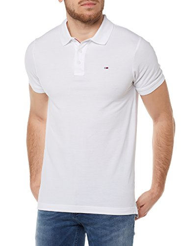 Hilfiger Denim DM0DM00488, Maglietta Polo Uomo, Bianco (Classic White), Large