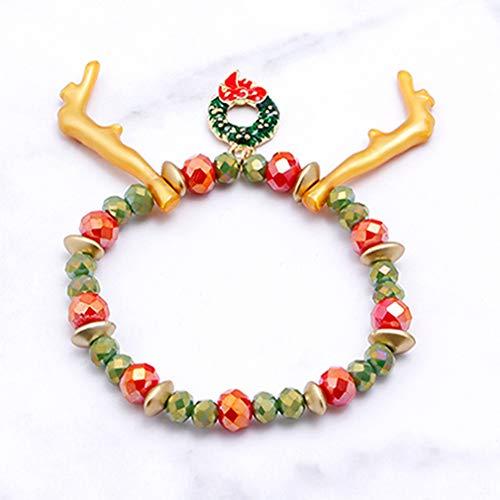 Weisin - Pulsera con colgante de copo de nieve, diseño geométrico de Papá Noel con cuentas redondas de reno, campana de árbol de Navidad, para vestido de fiesta, joyería para mujeres, renos