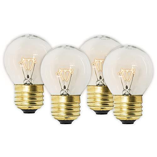 4VWIN G45 Oven Bulbs Light 120 Volt 40 Watt E26/E27 Medium Brass Base High Temp Warm White Refrigerator Incandescent Bulb (4, E26-G45)