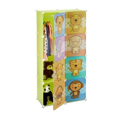 Relaxdays Kinderregal mit Tiermotiv, Kunststoff Steckregal m. Türen, Kinderzimmer Kleiderschrank m. Kleiderstange, bunt