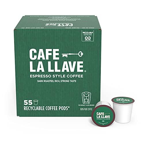 Cafe La Llave Espresso K-Cup (55 Count) Recyclable Single-Serve Coffee, Compatible with Keurig K-Cup Brewers
